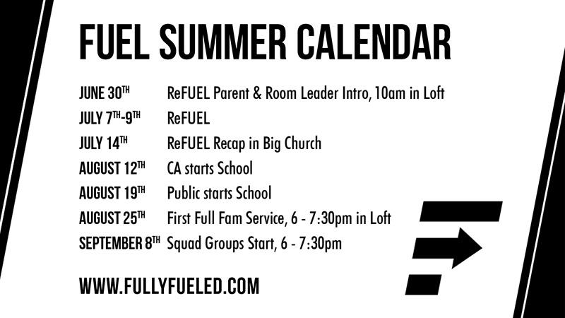 Fuel Summer Calendar